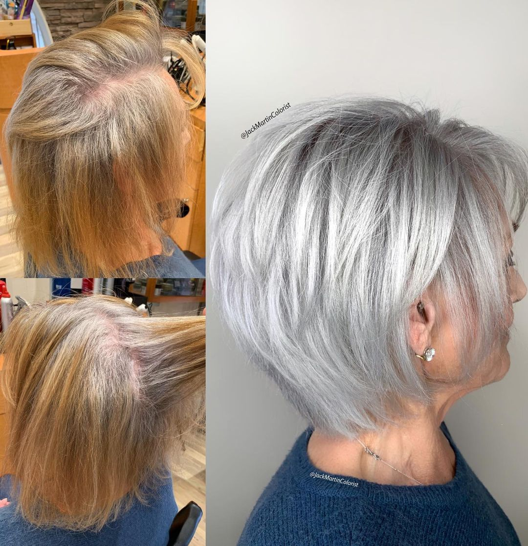 Short Silver Layered Haircut for Women