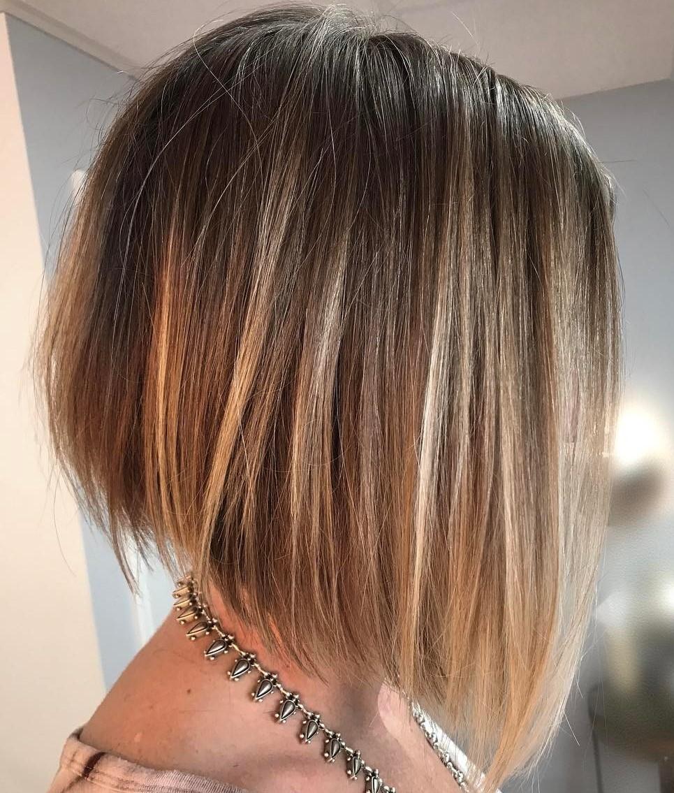 Straight Angled Highlighted A-Line Bob for Fine Hair