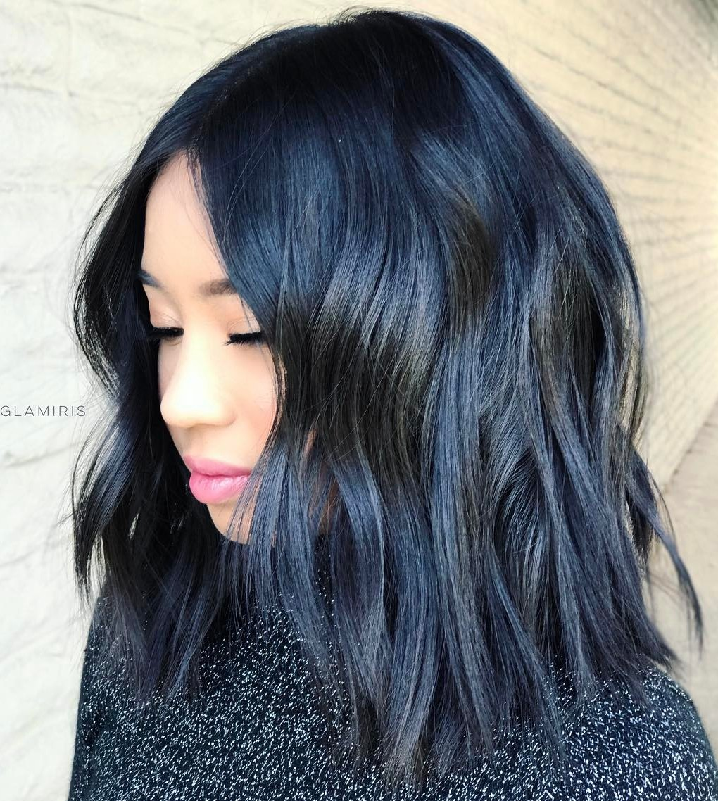 Blue Colored Bob with Messy Waves