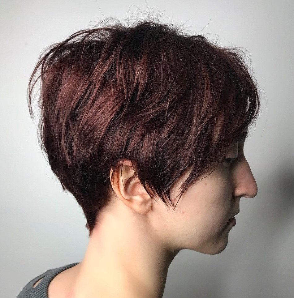 Dark Burgundy Textured Pixie Hairstyle