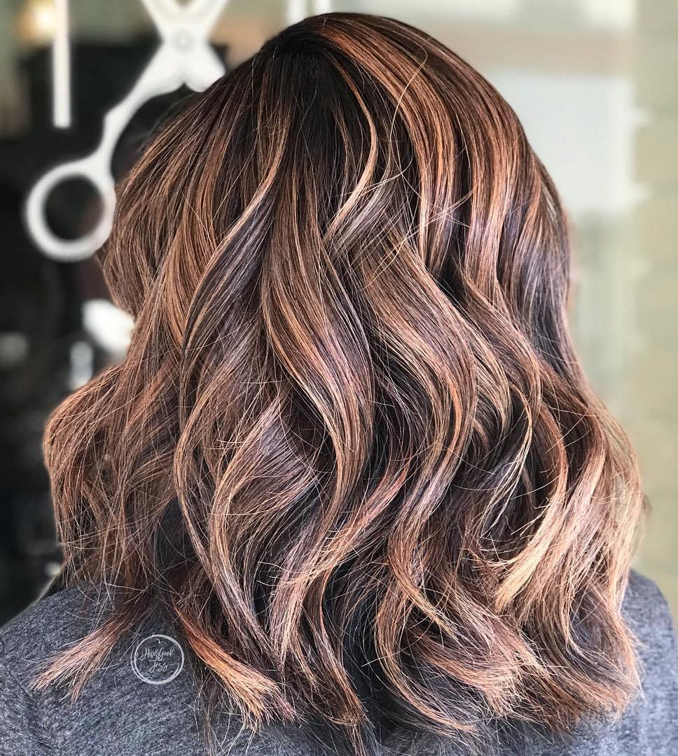 Medium Brown Hairstyle with Caramel Babylights