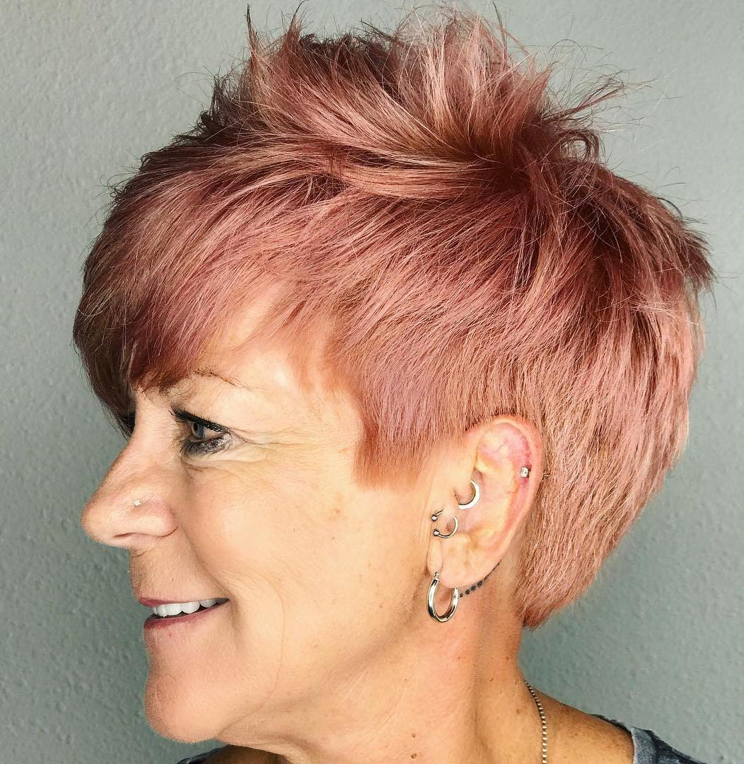 Over 50 Messy Choppy Rose Gold Pixie