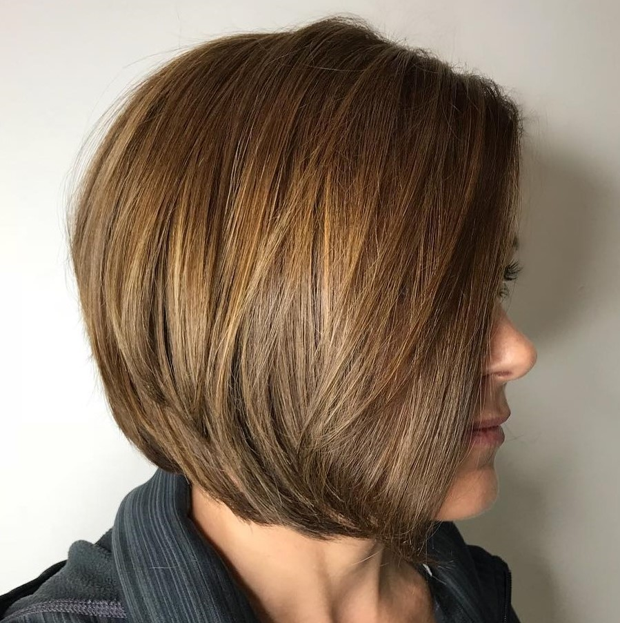 Sleek Golden Brown Layered Bob