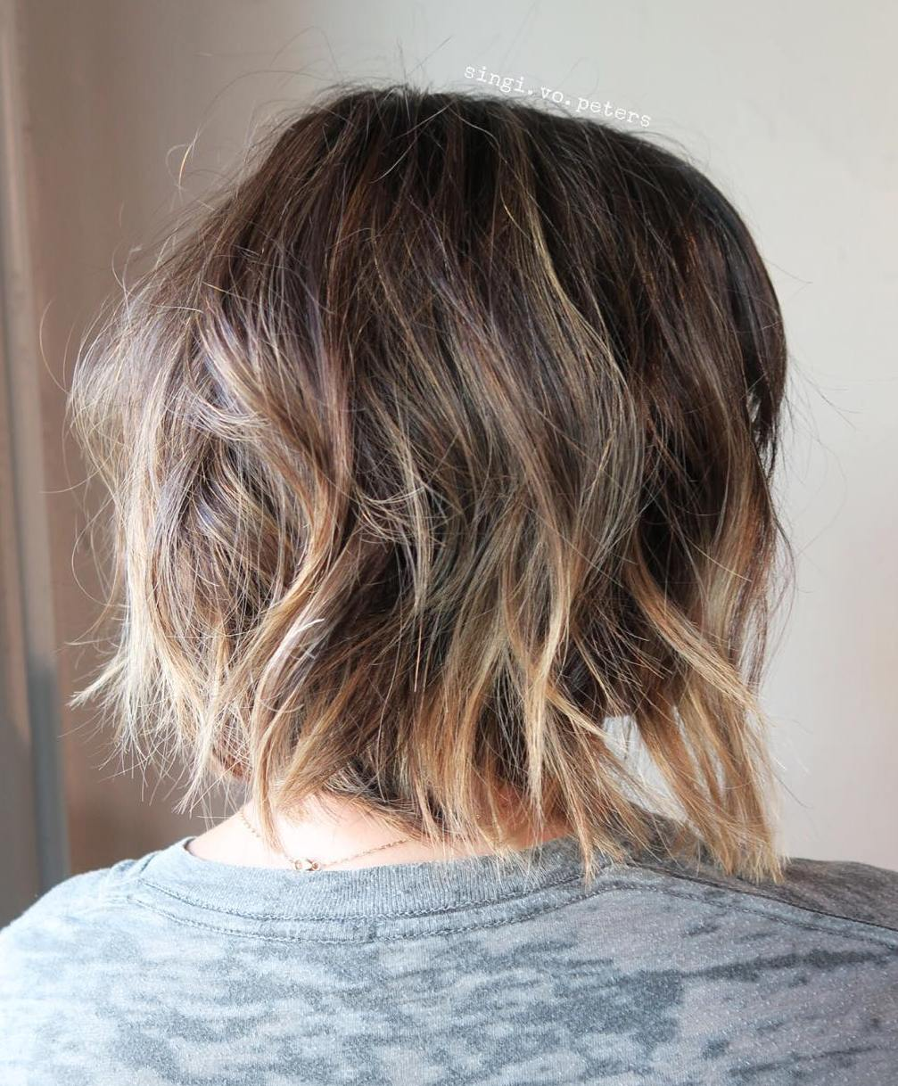 Messy Brown Bob with Big Waves and Highlighted Ends
