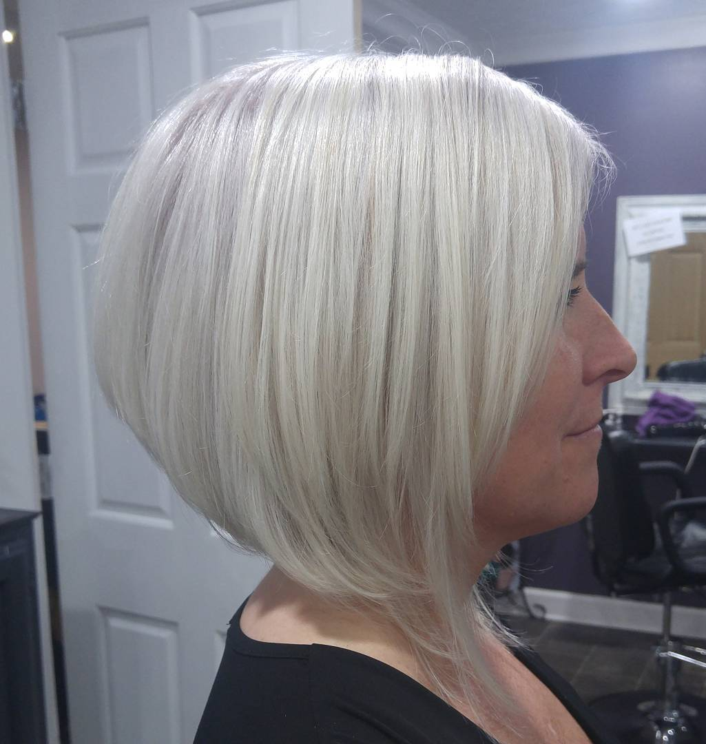 White Blonde Inverted Rounded Fine Hair Bob
