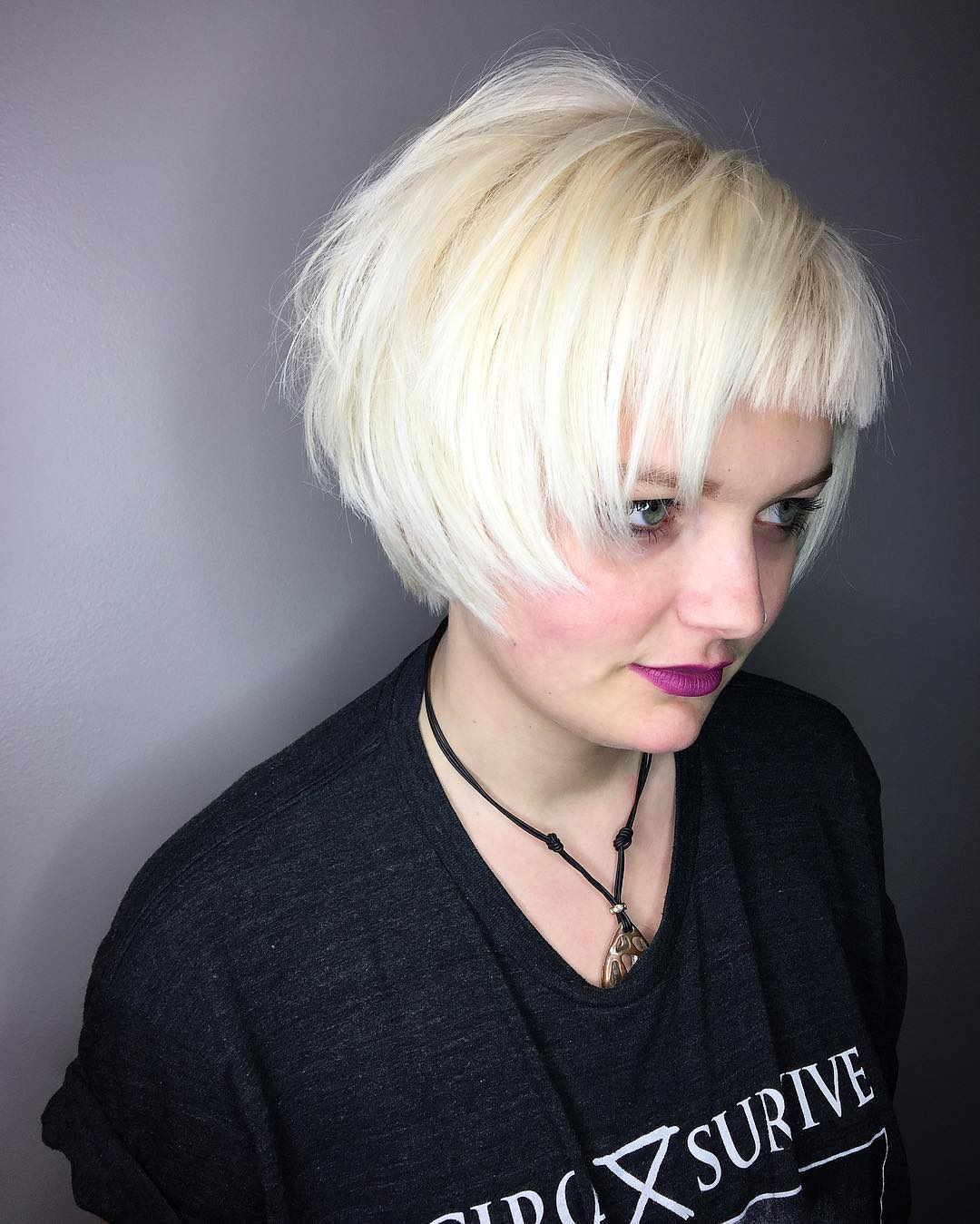 Short White Blonde Bob Shag with Bangs