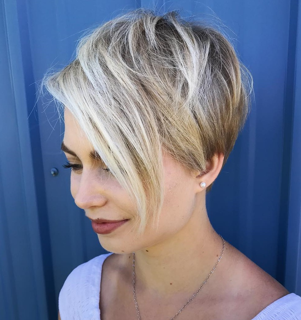 Bronde Pixie with Extra Long Side Fringe