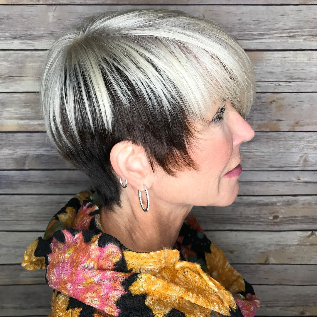 Two-Tone Black and White Choppy Pixie Bob