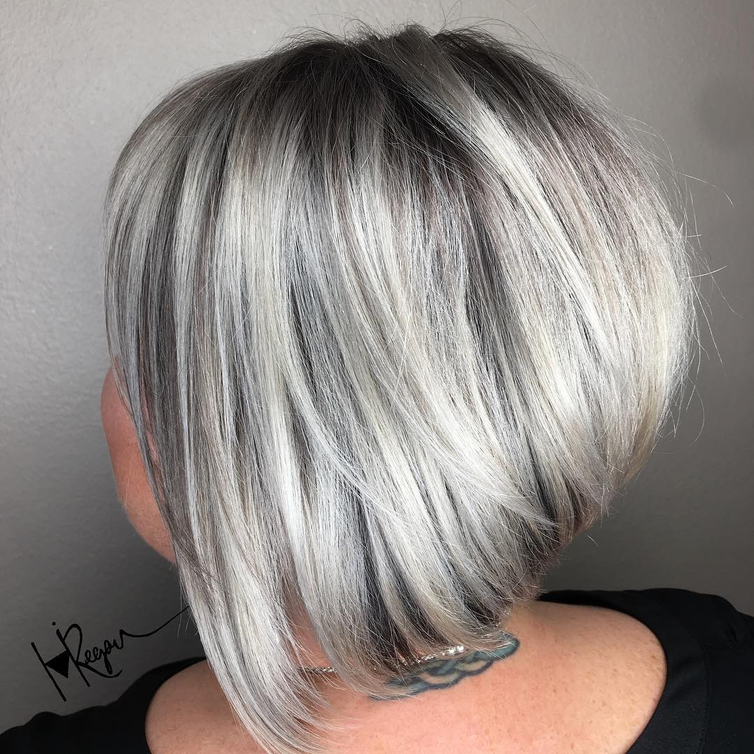 Inverted Silver Balayage Bob with Layers