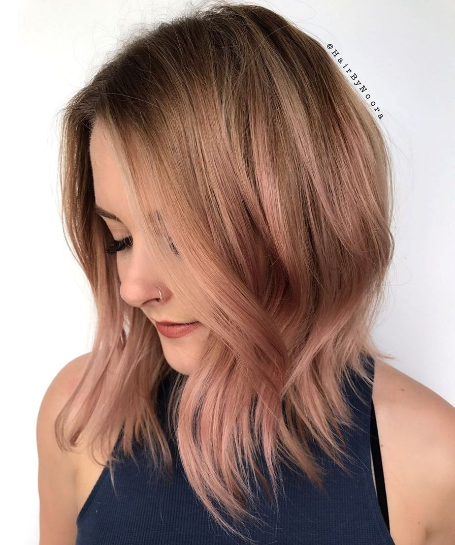 Rose Gold Inverted Long Bob with Textured Ends