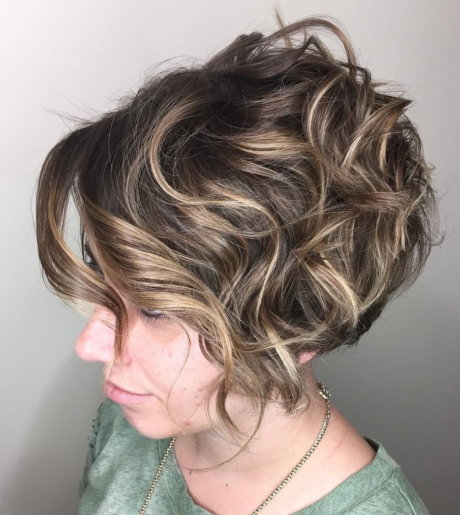 Short Stacked Curly Bob with Balayage Highlights