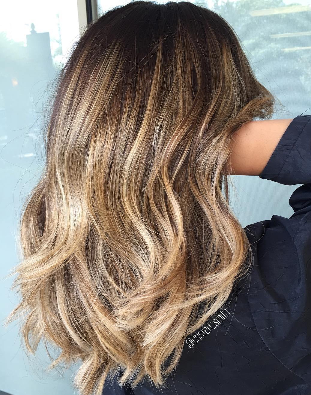 Brown to Ash Blonde Balayage with Dark Roots
