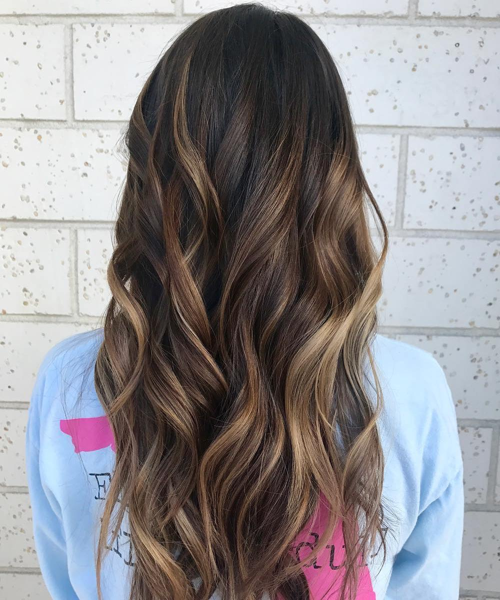 Black Hair with Warm Brown Balayage