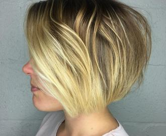 short bob with butter blonde balayage