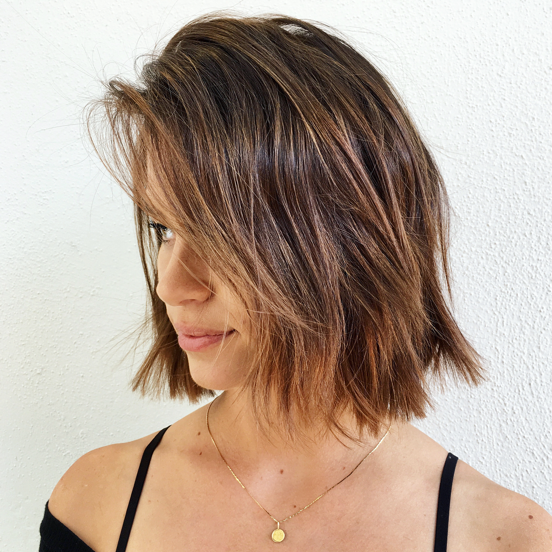 Choppy Caramel Brown Bob with a Fringe