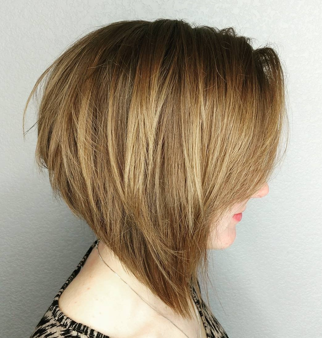 Angled Light Warm Brown Bob