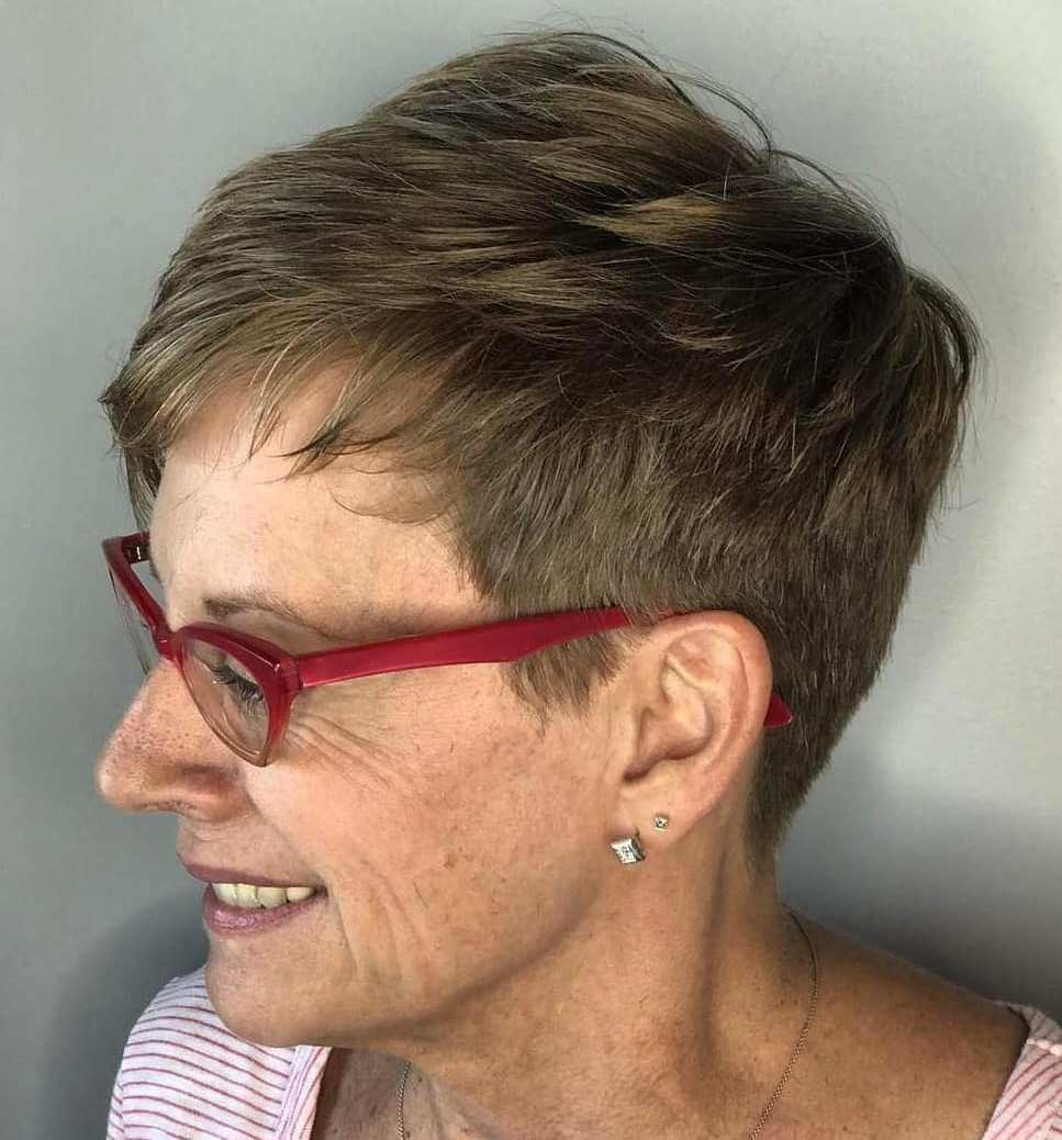 Very Short Brown Pixie for Older Women with Glasses