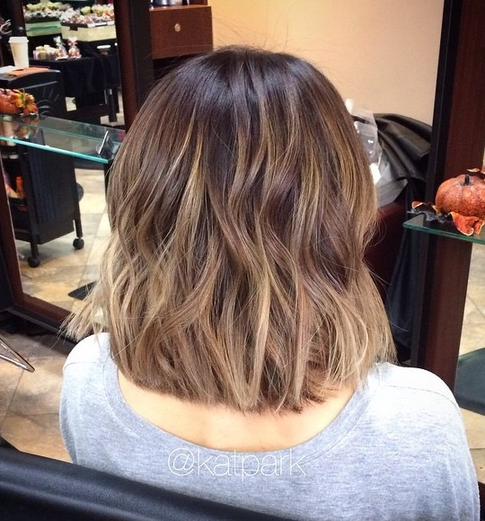 Ash Brown & Bronze Balayage on Shoulder Length Bob