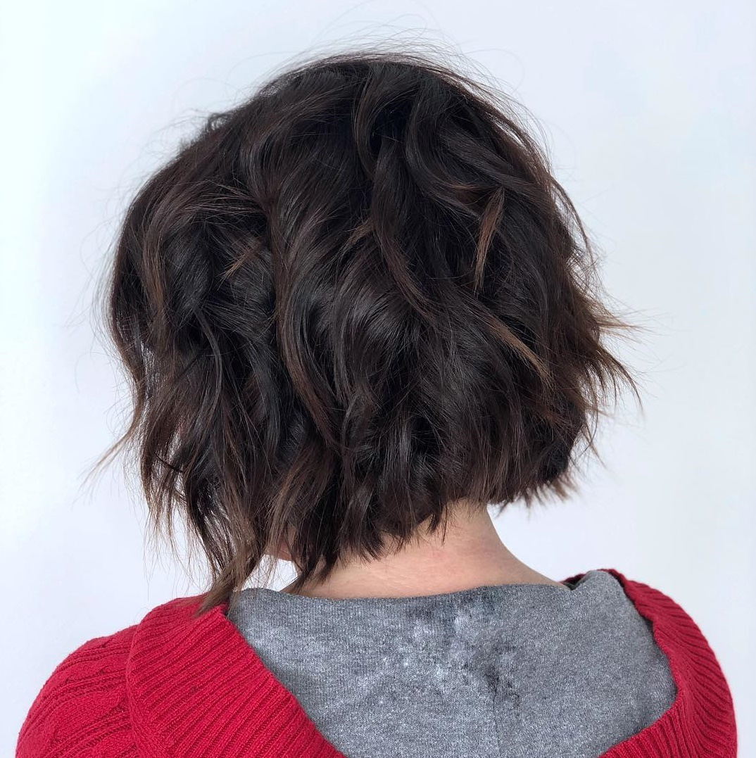 Razored Shaggy Dark Bob with Brown Highlights and Beach Waves