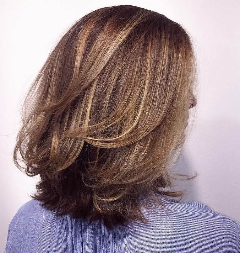 Mid-Length Layered Bob with Babylights