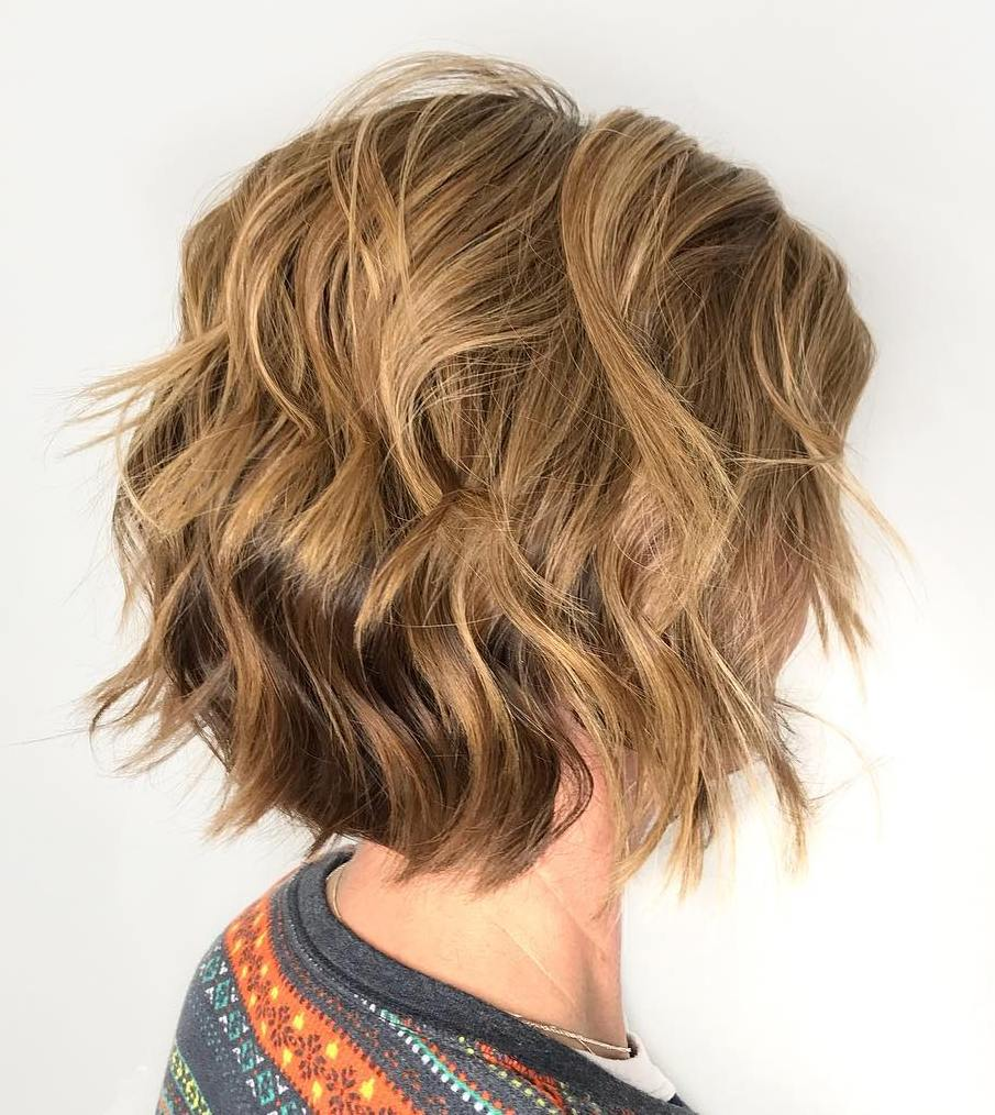 Wavy Caramel Brown Bob with Uneven Layers for Thick Hair