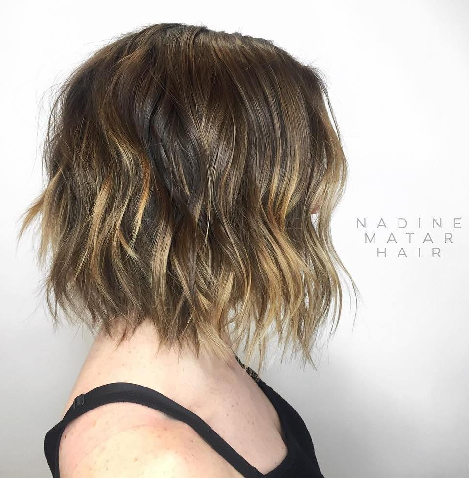 Razored Wavy Bob with Dark Blonde Highlights