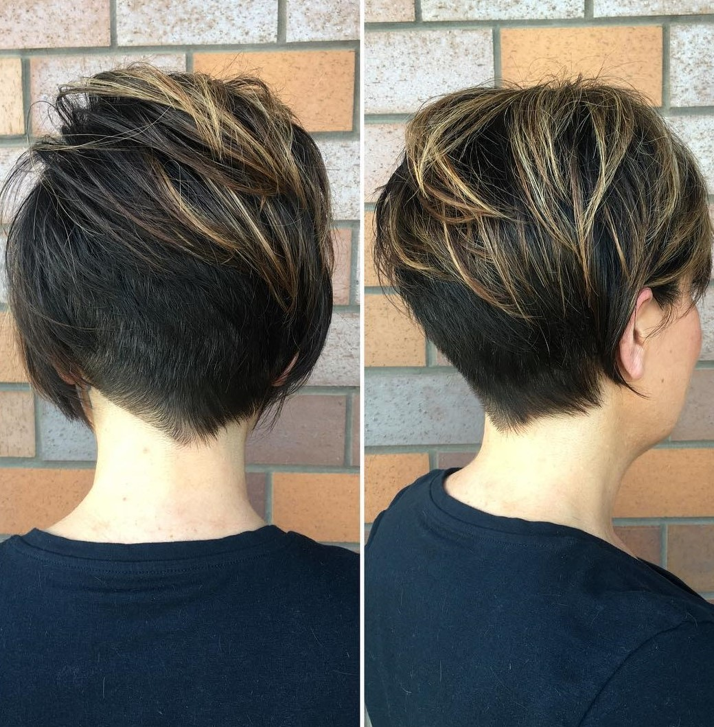 Pixie with V-Cut Nape Undercut and Highlights