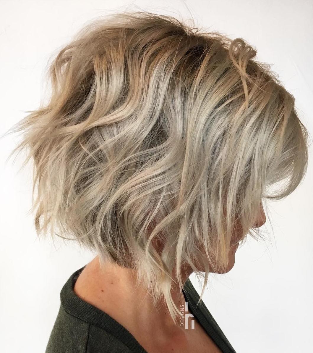 Ash Blonde Wavy Messy Shag Haircut