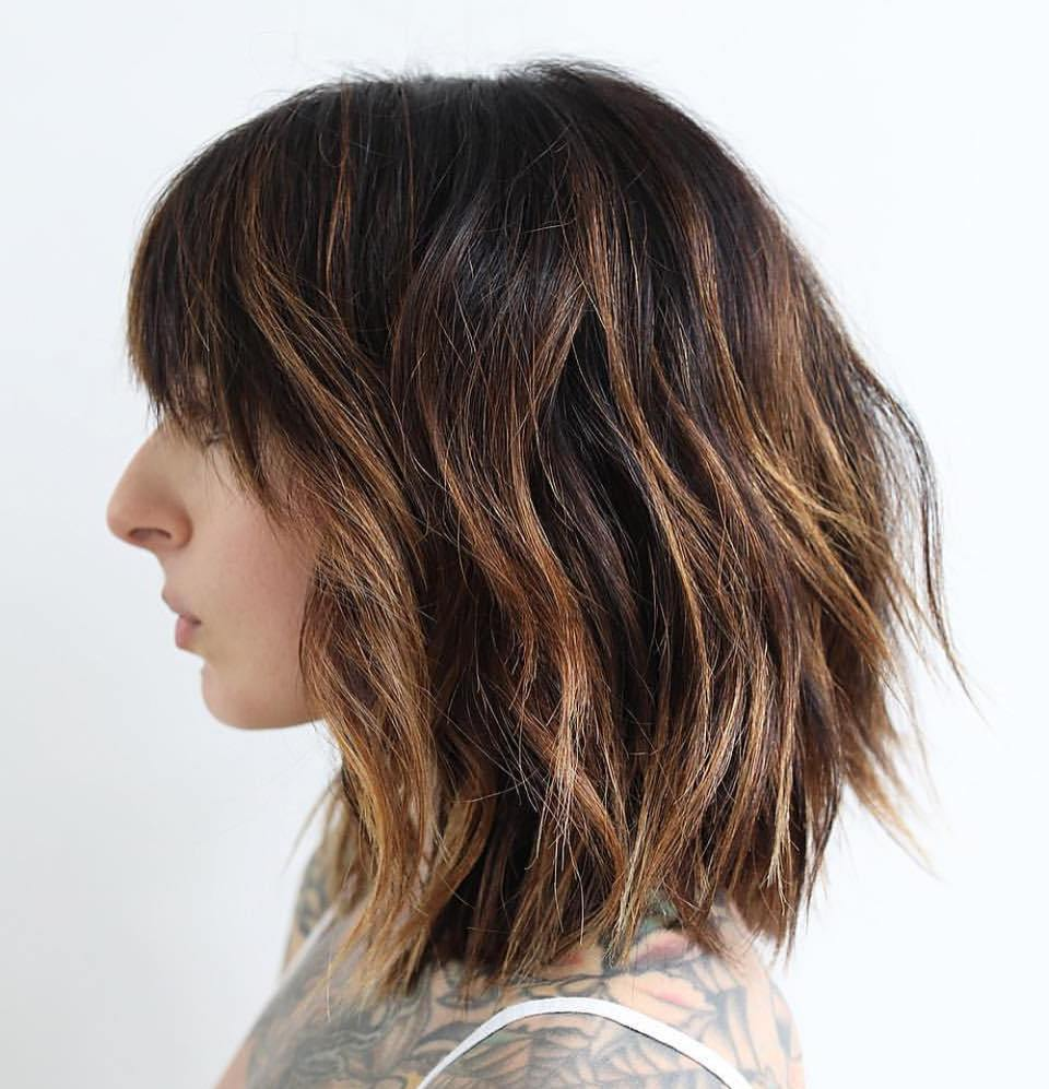 Lob shag with Bangs for Coarse Hair