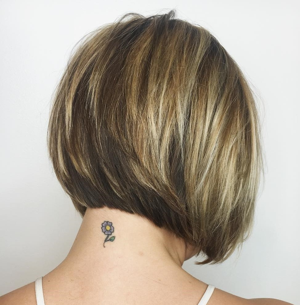 Short Inverted Bob with Bronde Balayage Highlights