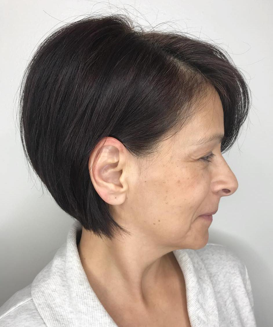 Short Stacked Brown Bob over 50 for Thick Hair