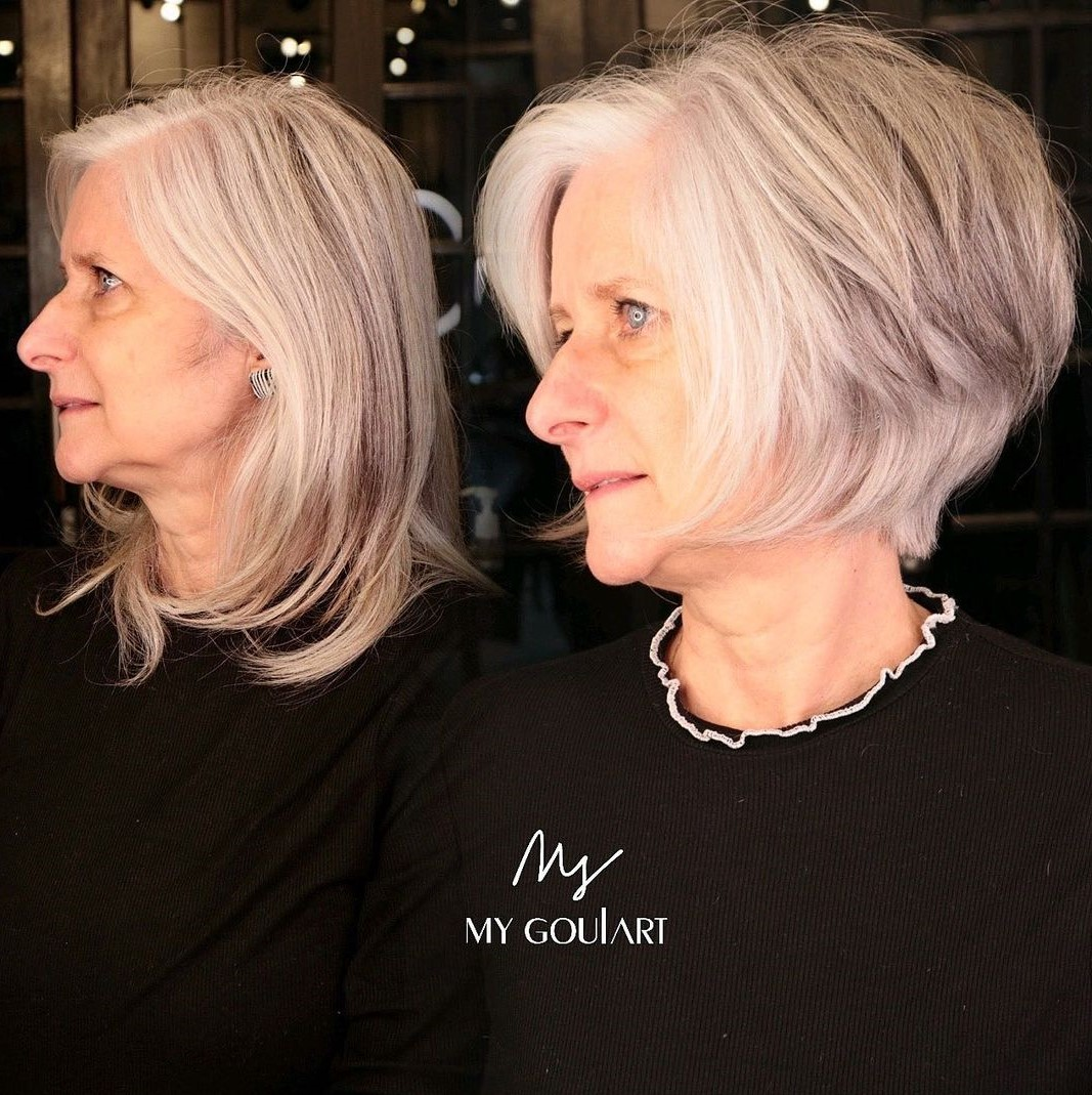 Over 60 Short Bob for Gray Hair