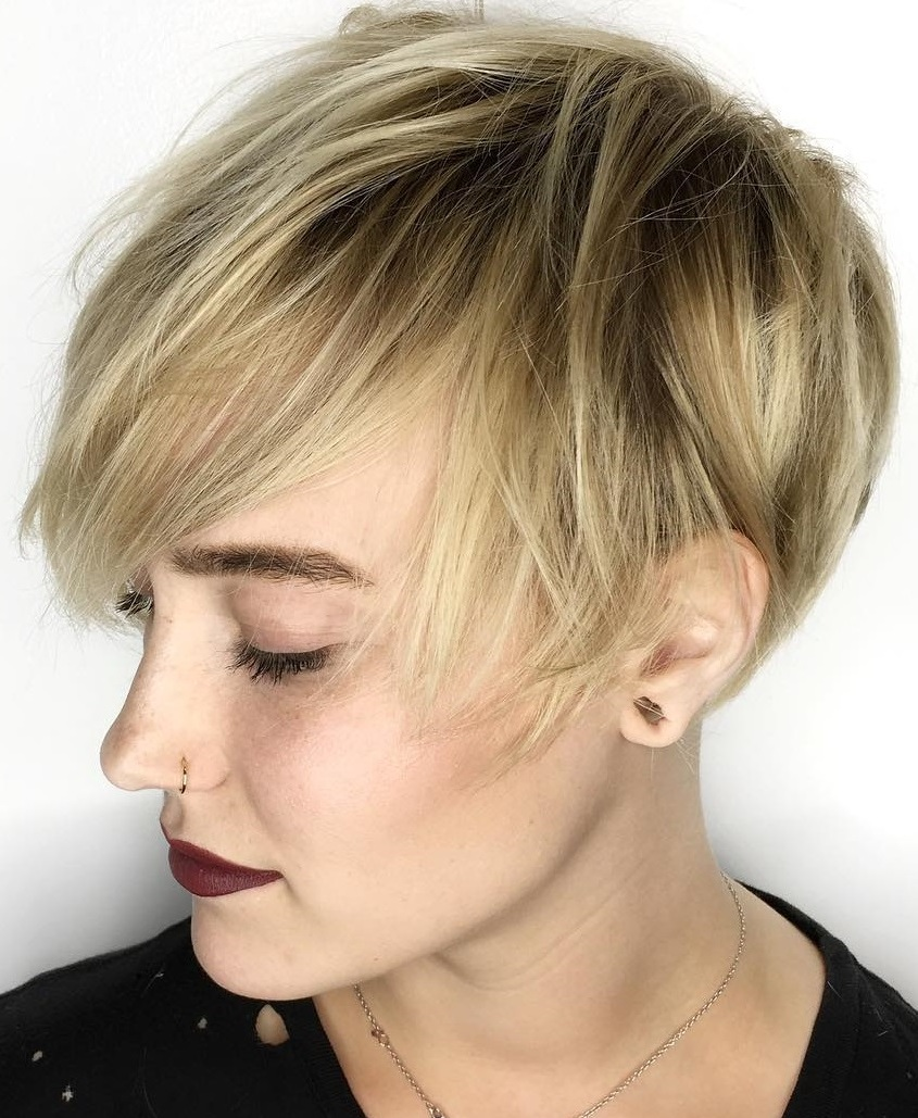 Tomboy Pixie Cut for with Bangs for Thin Hair