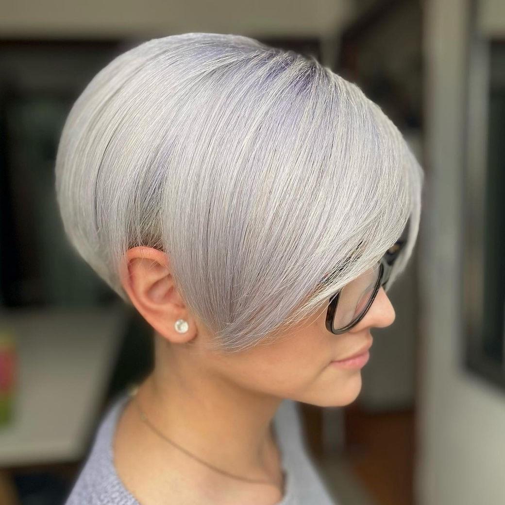 Short Silver Haircut for Thick Hair