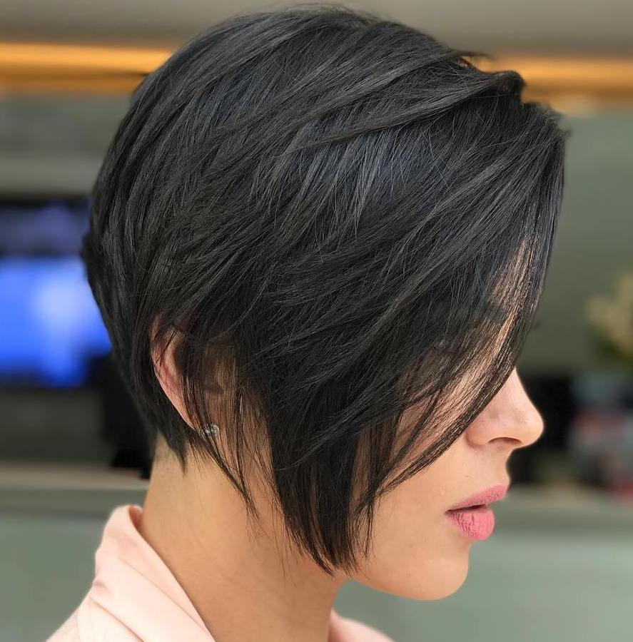 Dark Brown Inverted Bob for Fine Hair