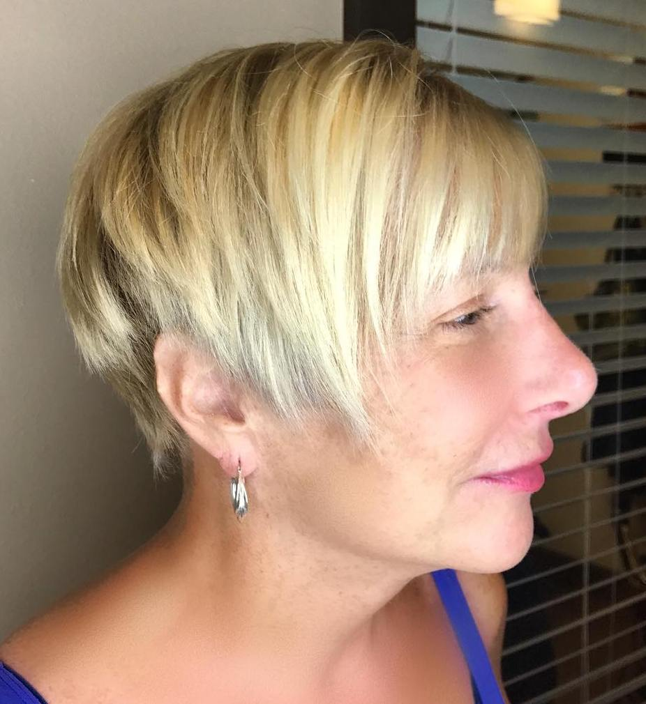 Asymmetrical Razored Blonde Pixie for Straight Hair with Bangs
