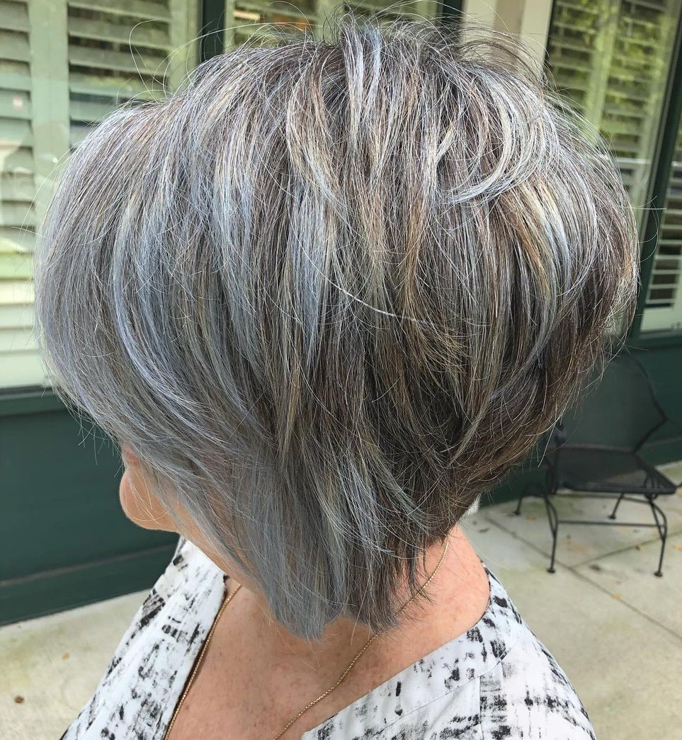 Short Gray Hair with Cool and Warm Highlights