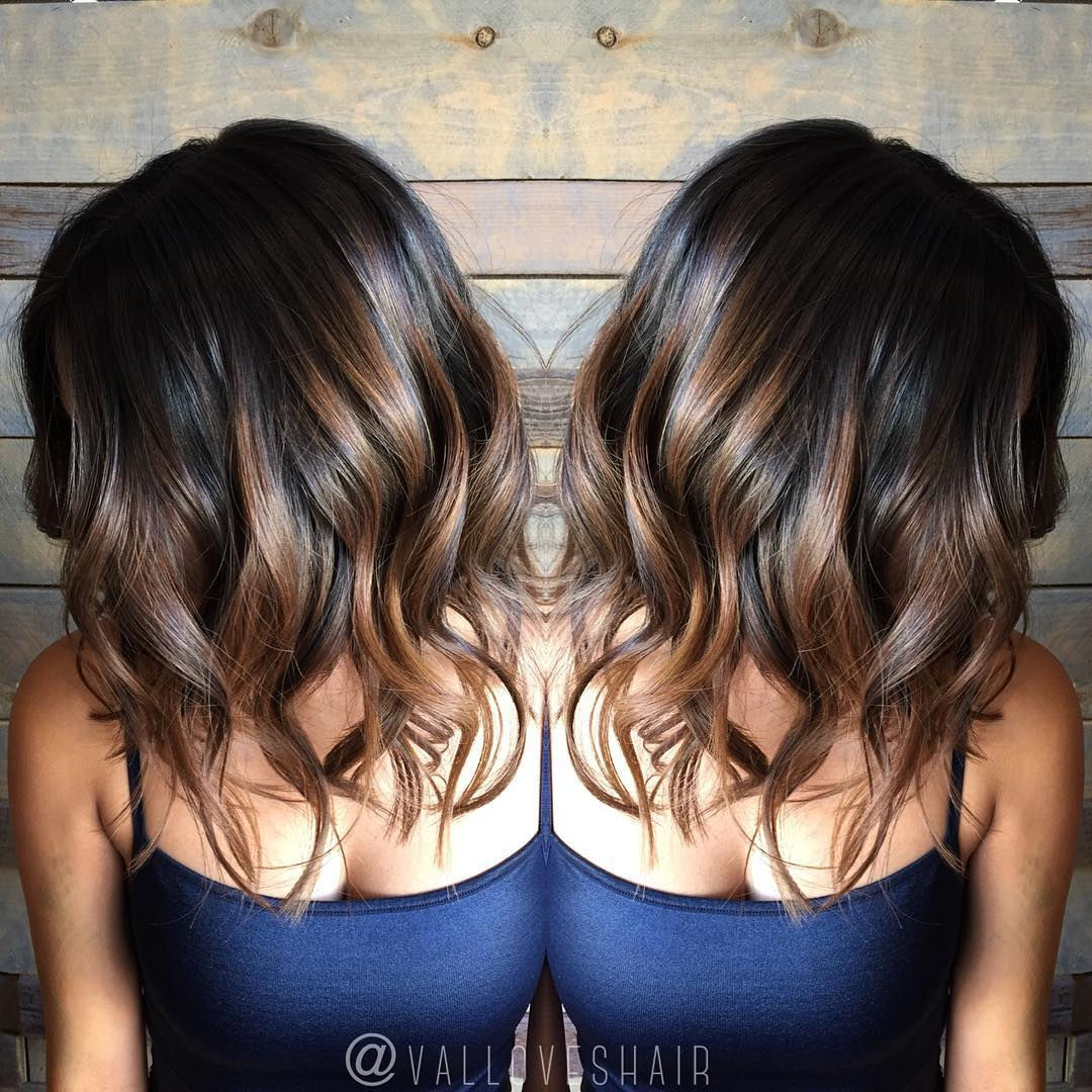 Dark Chocolate Hair with Hazelnut Highlights