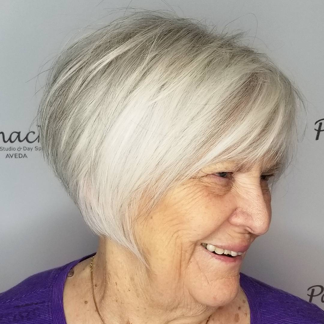 Short White Blonde Bob with Bangs