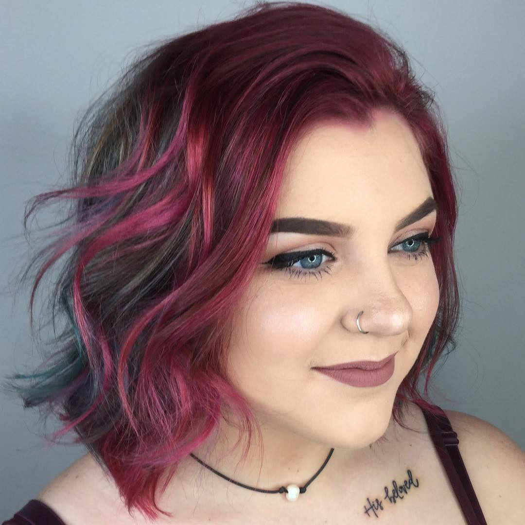Shaggy Layered Bob with Bold Color