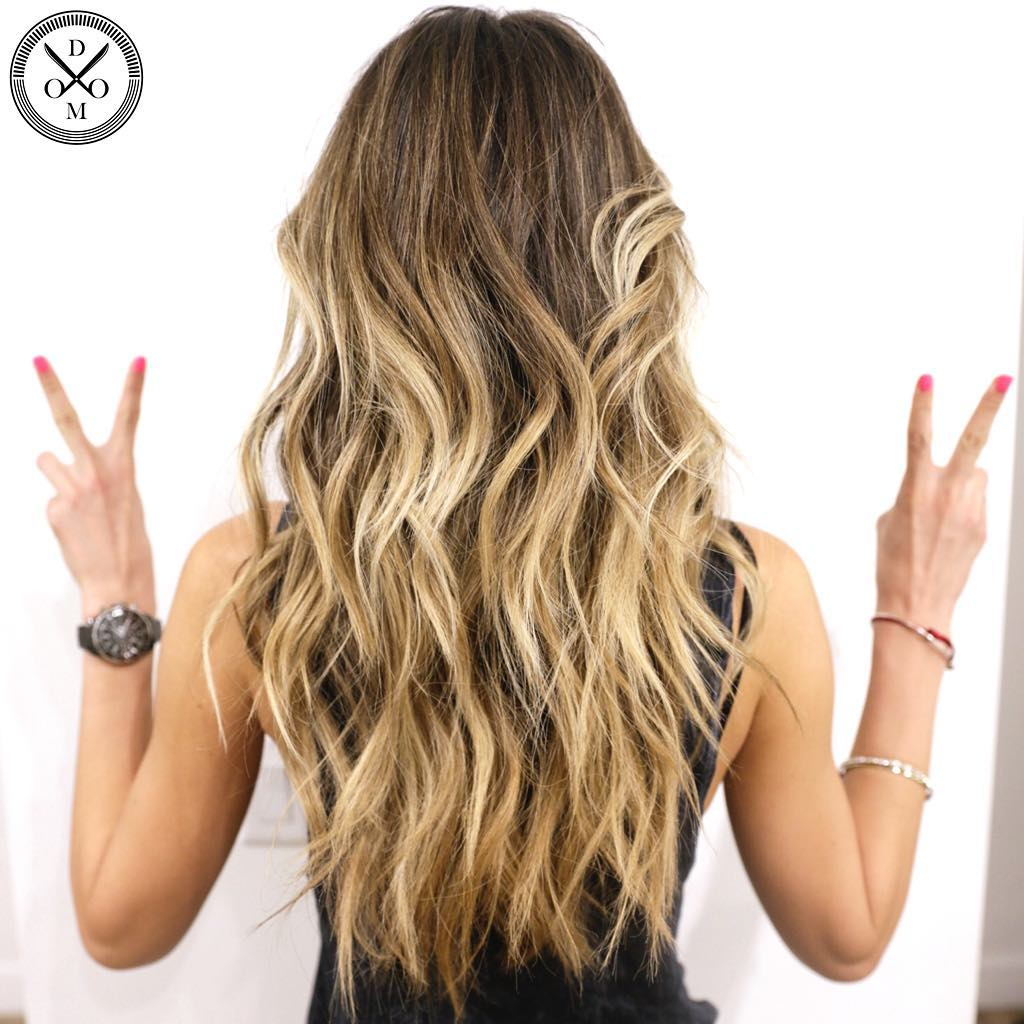 Long Beach Waves with Golden Blonde Highlights