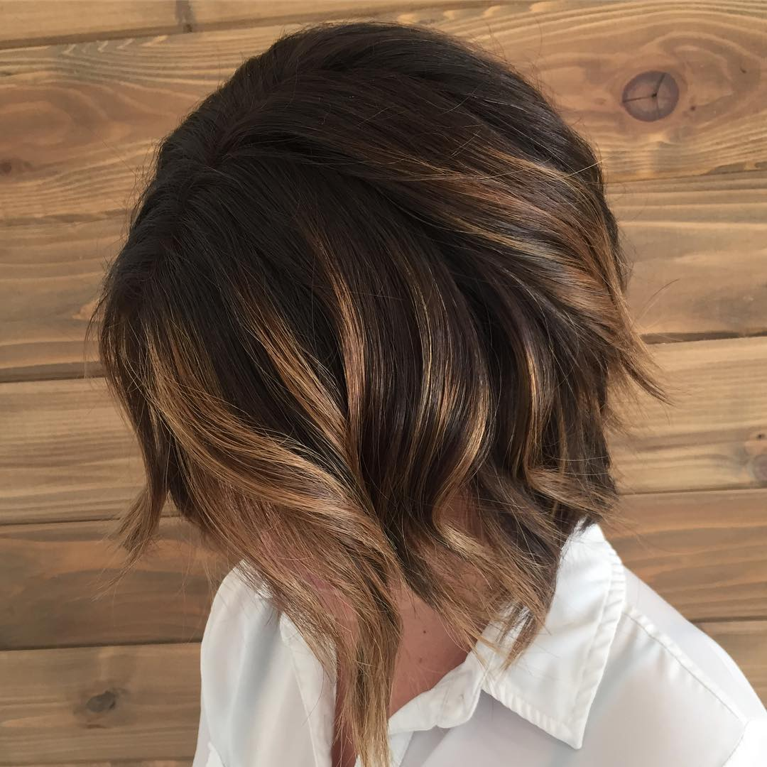 Chocolate Bob with Chunky Copper Highlights