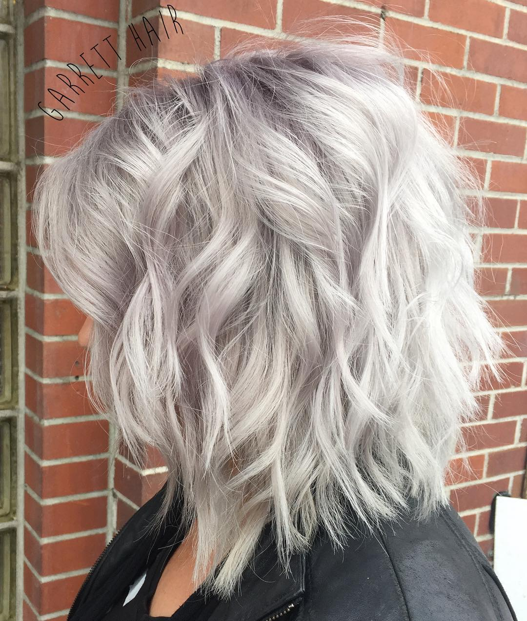 Metallic Silver Wavy Choppy Bob