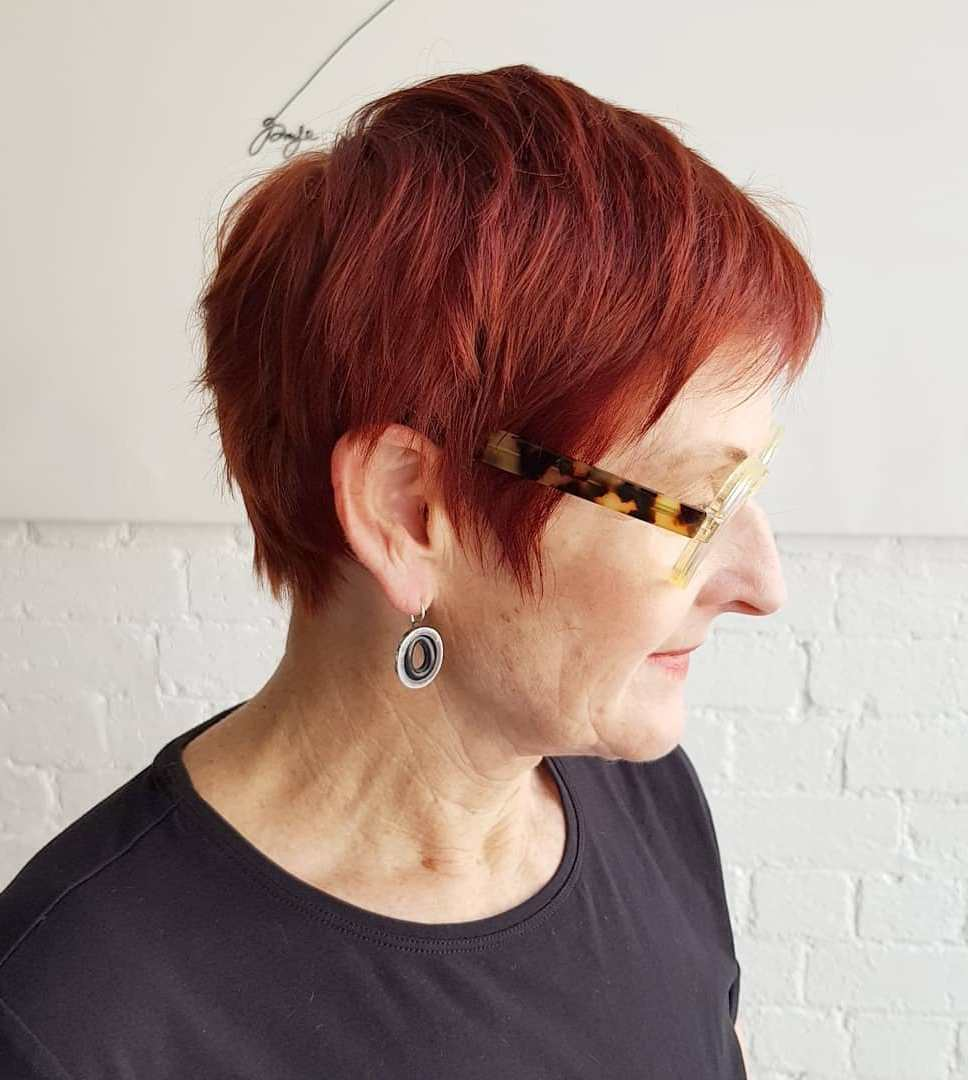 Red Pixie Cut Over 70