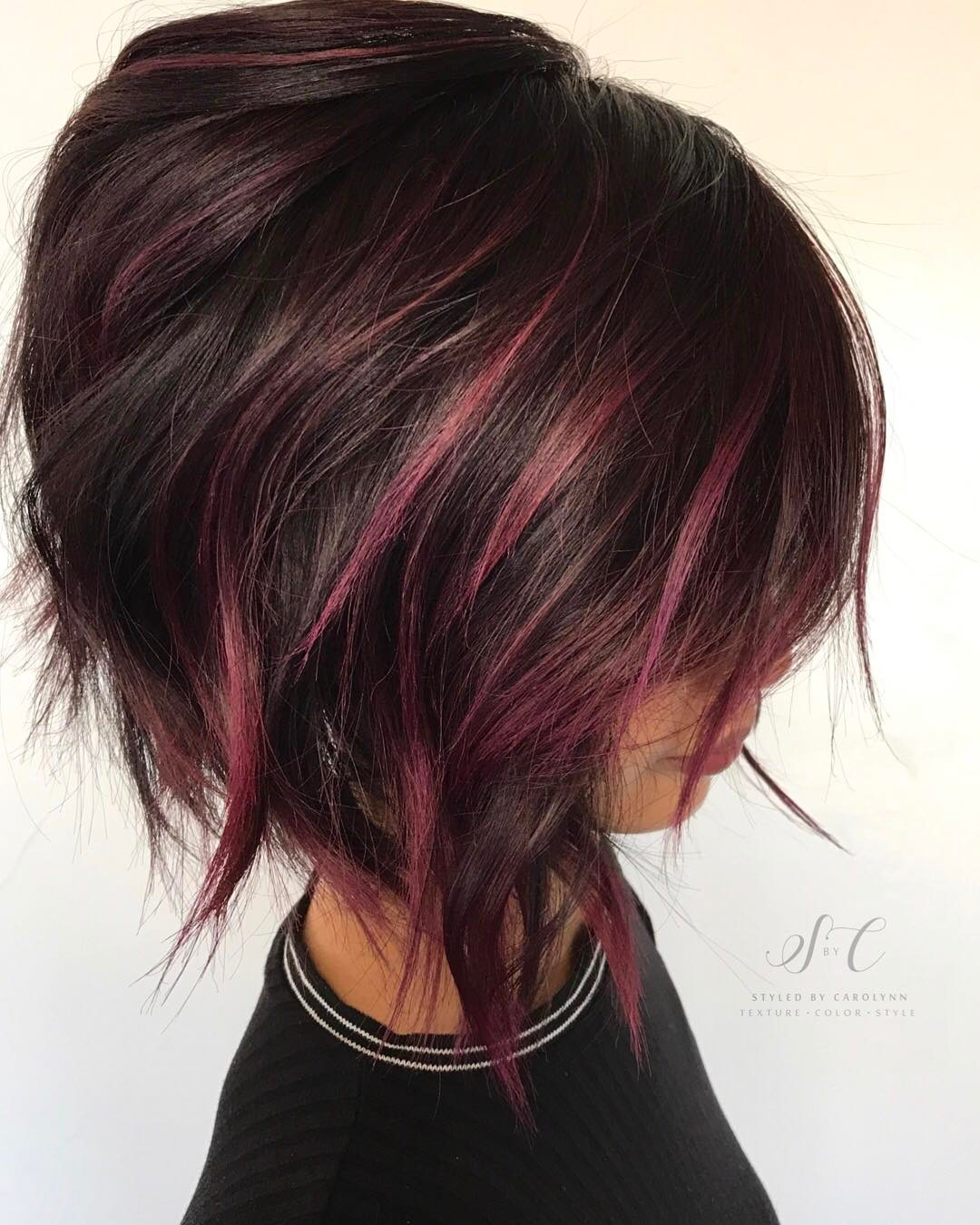Chocolate Bob with Mauve Highlights