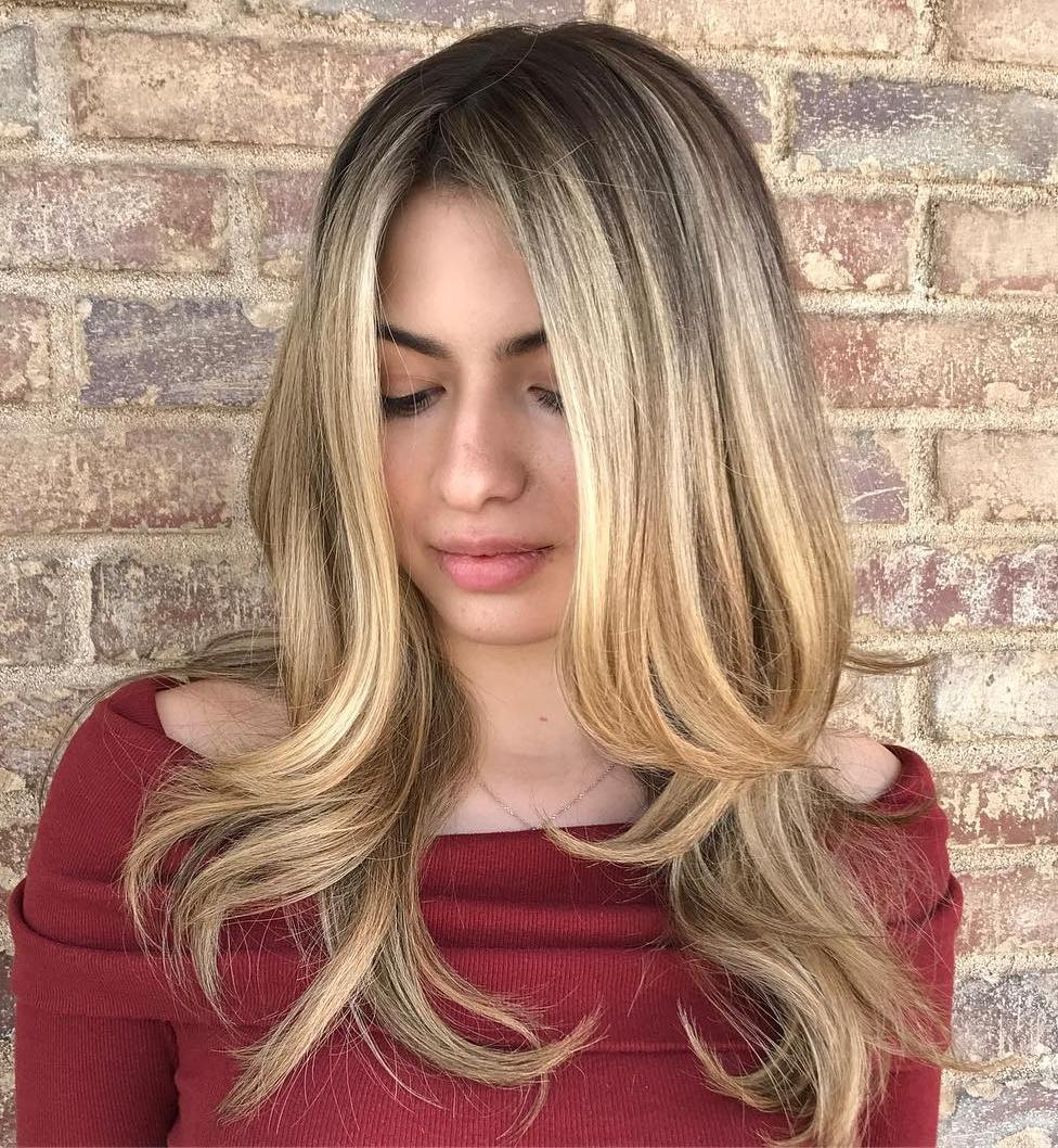 Centre-Parted Hairstyle with Layers