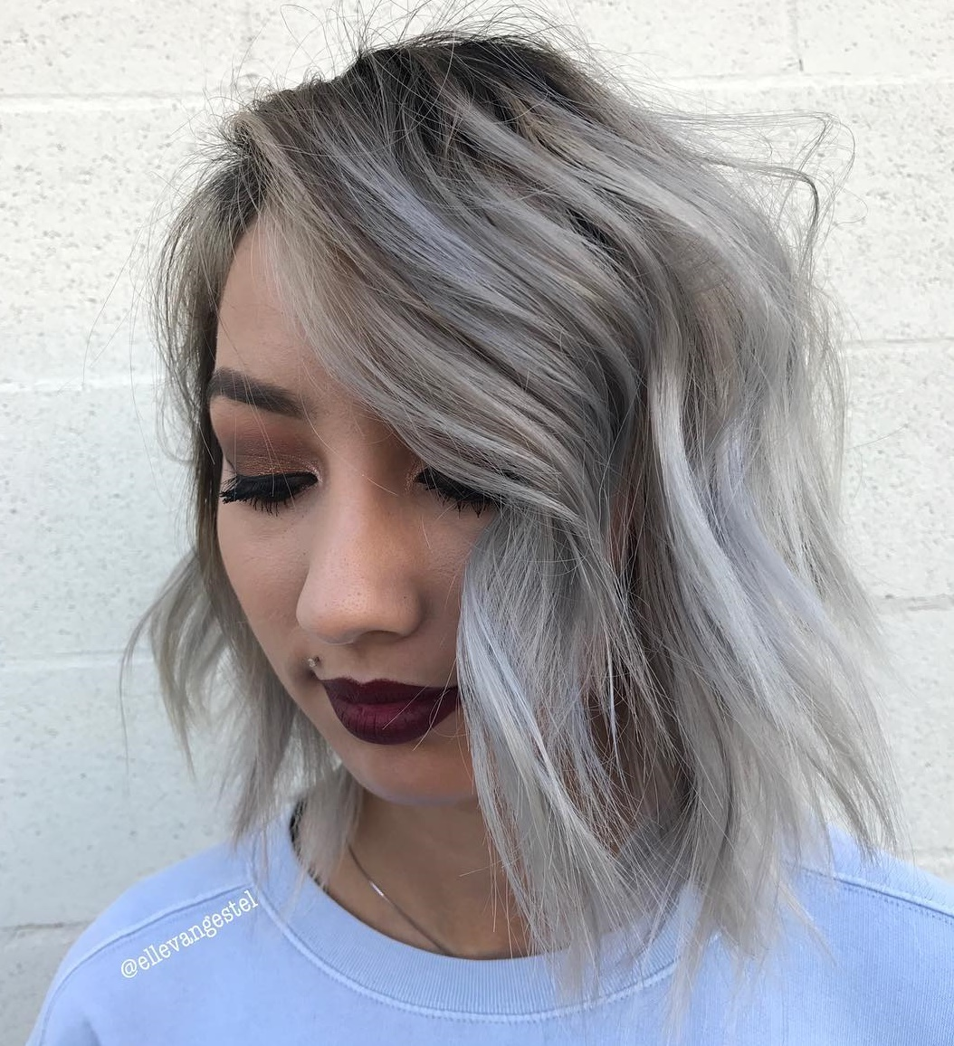 Gray Shaggy Bob for Round face