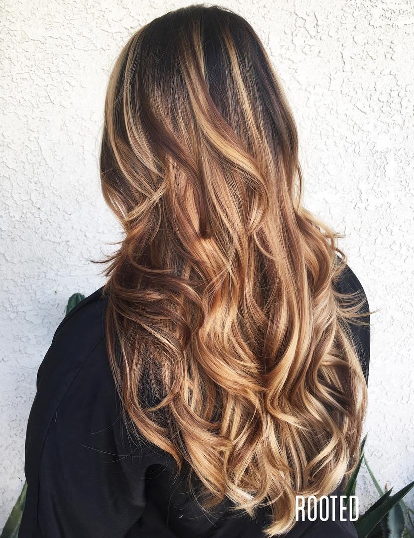 Long Layered Hair with Caramel Blonde Balayage