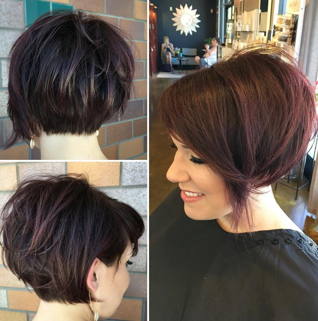 Reddish Brunette Pixie Bob for Thick Hair