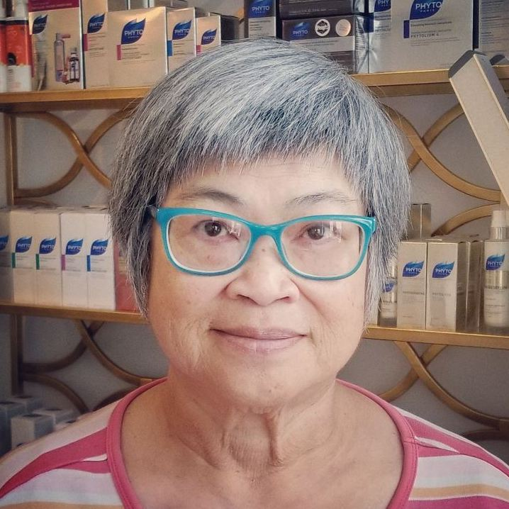 Razored Salt-and-Pepper Haircut with Glasses